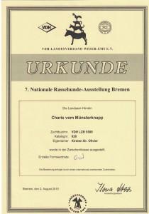 Urkunde_Charis_vom_Muensterknapp_Nationale_Rassehund_Ausstellung_Bremen
